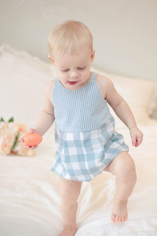 Knotted Romper in Mist Gingham