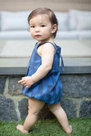 Knotted Romper in Ocean Ikat