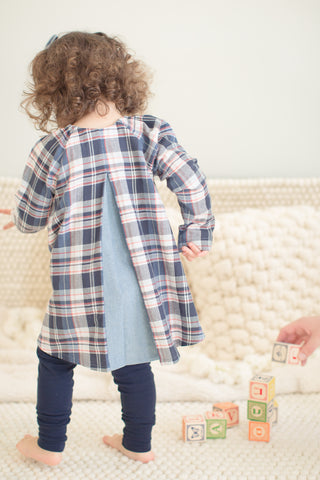 Pleated Twirl Tunic in Cabin Plaid