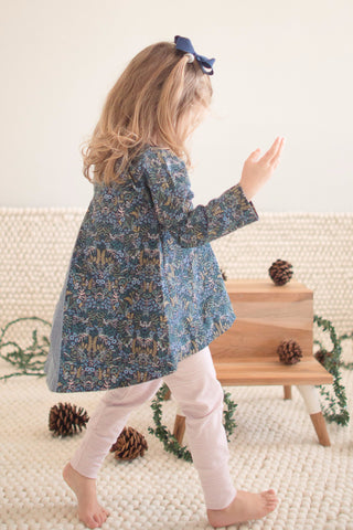 Pleated Swing Tunic in Midnight Blooms