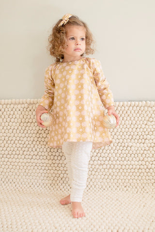 Pleated Twirl Tunic in Sunrise Snow