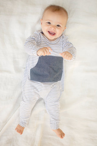 Everyday Romper in Gravel Stripe