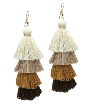 Bohemia 4 Layered Tassel Earrings. Multi Color Statement Fringe Long Earring For Women. Pagoda Earrings