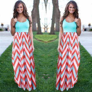 Women Summer Beach Boho Maxi Dress 2018 High Quality Brand Striped Print Long Dresses Feminine Plus Size