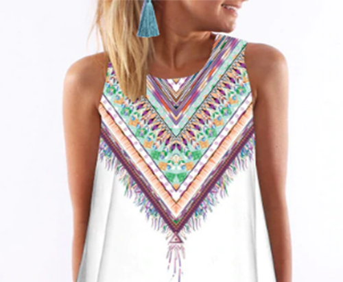 Bohemian Dress with Matching Earrings Sets.