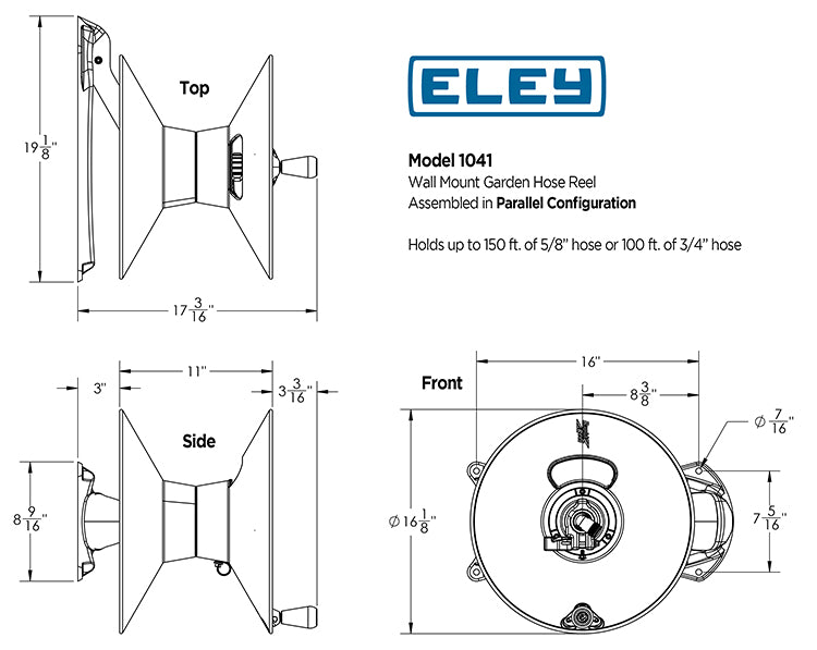Eley model 1041 wall mount garden hose reel dimensions for parallel configuration