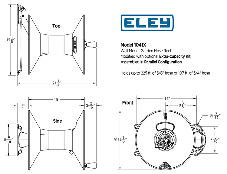 Eley model 1041X wall mount garden hose reel dimensions for parallel extra-capacity configuration