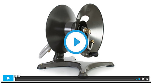 1042 free-standing garden hose reel assembly video image=