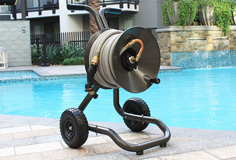 model 1043 eley 2-wheel garden hose reel cart poolside