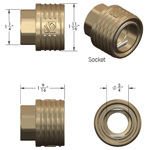 Dimensional view of Eley garden hose quick connect socket