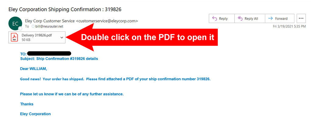 ELEY Ship Notification email