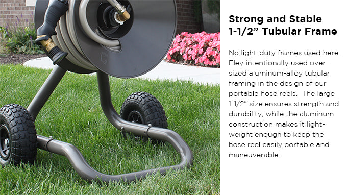 Coated With A High Grade, Spartan Bronze Powder Coat Finish, This Hose Reel  Also Features All Rubber, Flat Free Tires. Eley Garden Hose ...