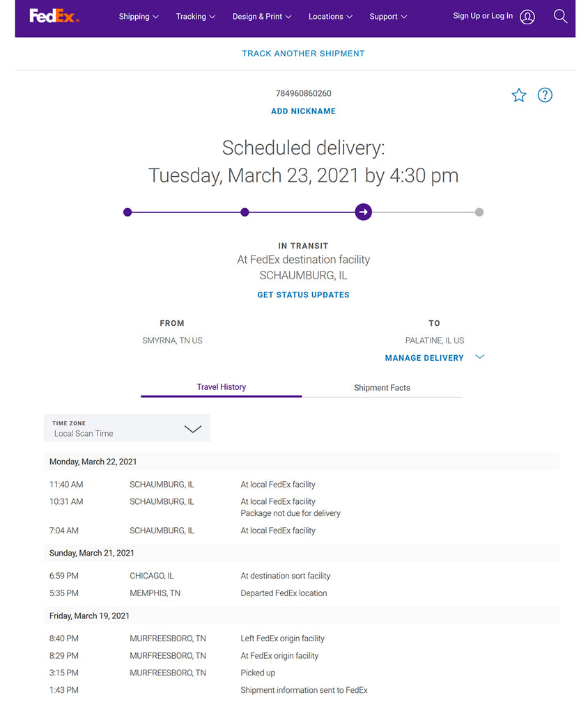 FedEx tracking of ELEY package example
