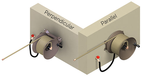 Parallel vs. Perpendicular hose reel mountings