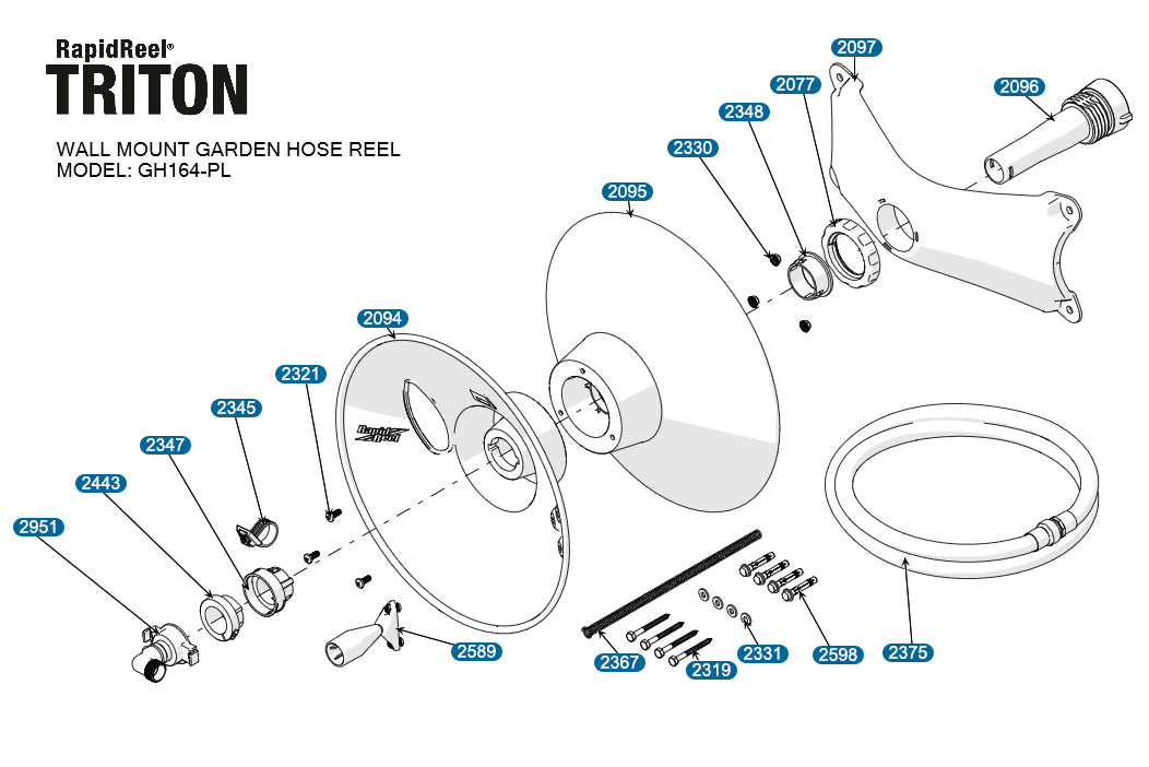 Parts for TRITON Model GH164 PL Parallel Wall Mount Hose Reel