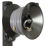 Eley aluminum post garden hose reel model 1041A loaded with 75-feet of Eley 5/8-inch Polyurethane garden hose, diametric view