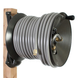 Eley wood post garden hose reel model 1041WX modified with Item 1044 Extra-Capicty Kit loaded with 200-feet of Eley 5/8-inch Polyurethane garden hose, diametric view
