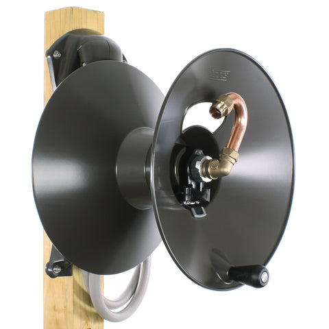 Eley model 1041W wood post mount garden hose reel