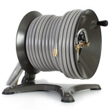 Eley free-standing garden hose reel model 1042X equipped with Item 1044 Extra-Capacity Kit loaded with 200-feet of Eley 5/8-inch Polyurethane garden hose, diametric view