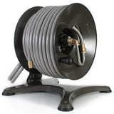 Eley free-standing garden hose reel model 1042 loaded with 150-feet of Eley 5/8-inch Polyurethane garden hose, diametric view