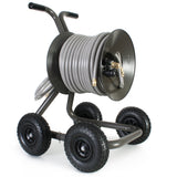 Eley 4-wheel wagon portable garden hose reel model 1043QX equipped with Item 1044 Extra-Capacity Kit loaded with 175-feet of Eley 5/8-inch Polyurethane garden hose, diametric view