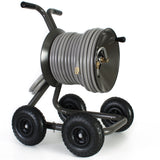 Eley 4-wheel wagon portable garden hose reel model 1043QX equipped with Item 1044 Extra-Capacity Kit loaded with 200-feet of Eley 5/8-inch Polyurethane garden hose, diametric view
