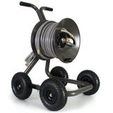 Eley 4-wheel wagon portable garden hose reel model 1043Q loaded with 100-feet of Eley 5/8-inch Polyurethane garden hose, diametric view