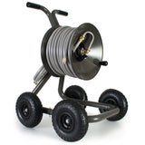 Eley 4-wheel wagon portable garden hose reel model 1043Q loaded with 125-feet of Eley 5/8-inch Polyurethane garden hose, diametric view