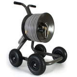 Eley 4-wheel wagon portable garden hose reel model 1043Q loaded with 150-feet of Eley 5/8-inch Polyurethane garden hose, diametric view