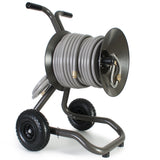 Eley 2-wheel cart portable garden hose reel model 1043X equipped with Item 1044 Extra-Capacity Kit loaded with 150-feet of Eley 5/8-inch Polyurethane garden hose, diametric view