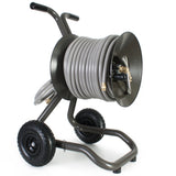 Eley 2-wheel cart portable garden hose reel model 1043X equipped with Item 1044 Extra-Capacity Kit loaded with 175-feet of Eley 5/8-inch Polyurethane garden hose, diametric view