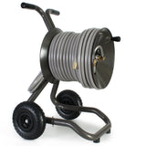Eley 2-wheel cart portable garden hose reel model 1043X equipped with Item 1044 Extra-Capacity Kit loaded with 200-feet of Eley 5/8-inch Polyurethane garden hose, diametric view