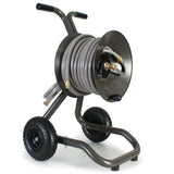 Eley 2-wheel cart portable garden hose reel model 1043 loaded with 100-feet of Eley 5/8-inch Polyurethane garden hose, diametric view