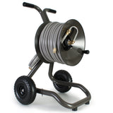Eley 2-wheel cart portable garden hose reel model 1043 loaded with 125-feet of Eley 5/8-inch Polyurethane garden hose, diametric view