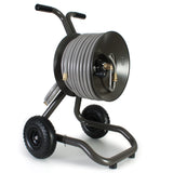 Eley 2-wheel cart portable garden hose reel model 1043 loaded with 150-feet of Eley 5/8-inch Polyurethane garden hose, diametric view