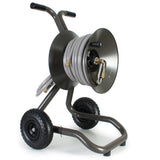 Eley 2-wheel cart portable garden hose reel model 1043 loaded with 75-feet of Eley 5/8-inch Polyurethane garden hose, diametric view