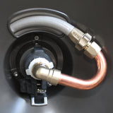 Eley Garden Hose Reel Swivel, Copper Goose-Neck on reel, attached to hose