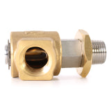 Eley 60° High Pressure Hose Reel Swivel made from brass and stainless steel, 1/2-inch M x 1/2-inch F, threaded female angle