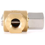 Eley 90° High Pressure Hose Reel Swivel with brass and stainless steel, 1/2-inch F x 3/8-inch F, threaded female angle