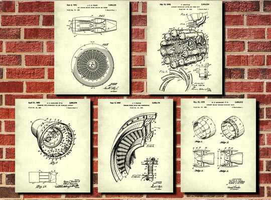 Patent Art Themed Sets of Prints or Canvas Panels