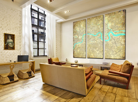 Custom City Street Maps - 3 Panel Canvas