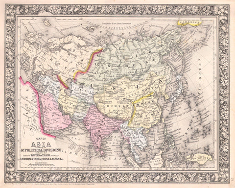 Asia Map Print Vintage Poster Old Map as Art - OnTrendAndFab