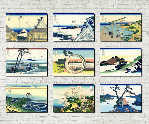 Set 9 Japanese Prints 36 Views Mount Fuji A