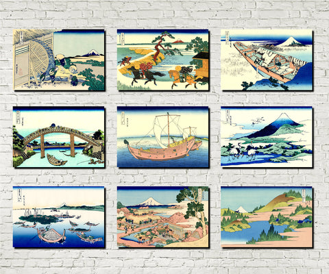 Set 9 Japanese Prints 36 Views Mount Fuji B