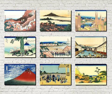 Set 9 Japanese Prints 36 Views Mount Fuji C