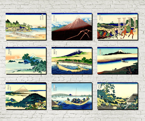 Set 9 Japanese Prints 36 Views Mount Fuji D