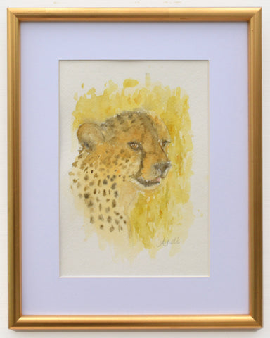 Cheetah Watercolor Painting Big Cat Painting Framed African Wildlife by Andi Lucas