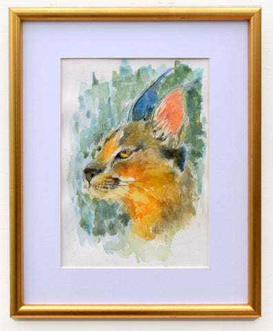 Caracal Lynx Watercolor Painting Big Cat Painting Framed by Andi Lucas