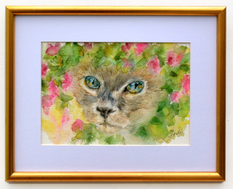 Siamese Cat Watercolor Painting Cat Painting Framed Original by Andi Lucas