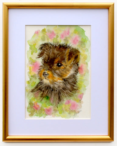 Yorkshire Terrier Puppy Watercolor Painting Dog Painting Framed by Andi Lucas